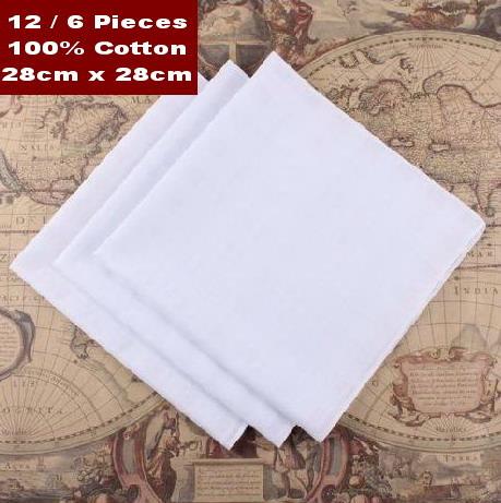 12 pieces / one dozen 28cm x 28cm 100% cotton pure white handkerchiefs(China (Mainland))