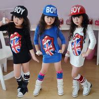 Baby grils dress new 2015 korean style cute cartoon big tongue pattern straight knee-length cotton dresses meninas vestir GZ0103