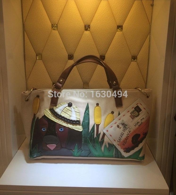 2015 New Arrival Vintage Patchwork Handbags Italy Street Brand Handicraft Messenger Bags 3D Cartoon Dog Sweet Shoulder Bags(China (Mainland))
