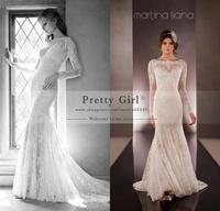 Romantic Lace Long Sleeve Wedding Dresses 2015 Vestido De Noiva Fashionable Sexy Backless Mermaid Wedding Dress Bridal Gowns