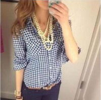 Free shipping 2015 turn-down collar Blue and white plaid Long sleeve single-breasted shirt for women