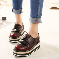 New 2015 England College Retro style platform shoes wedges casual women shoes size35-40