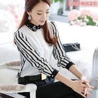 6705 Spring New Slim Classic Stripes Beading Peter Pan Collar Korean Long Sleeve Chiffon Womens Blouse Free Shipping