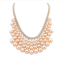 Min. order $9 (mix order) Fashion multi-layer pearl beaded pendant short chains necklace for women
