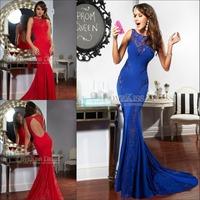 Sexy Mermaid Royal Blue Special Cut Chiffon Spandex See Through Prom Dresses Long 2015 Formal Evening Dress