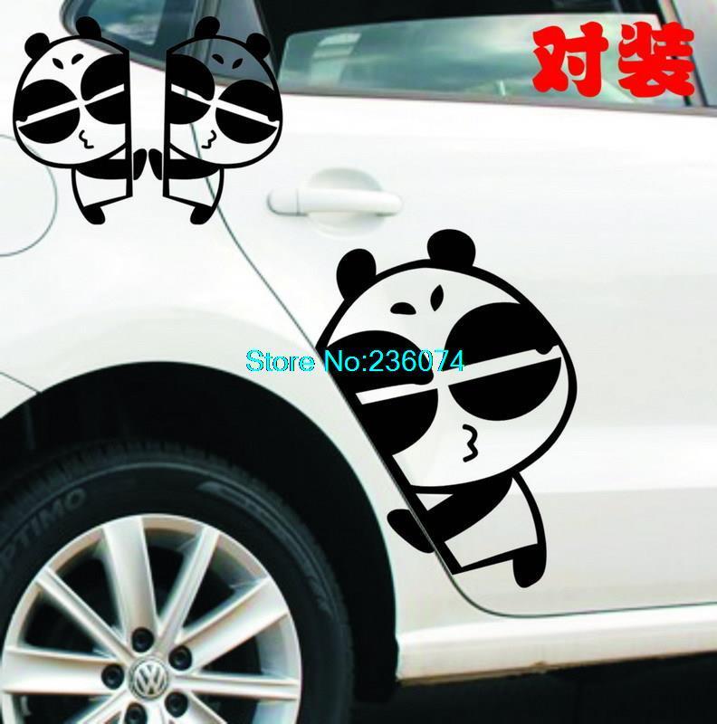 a pair Innovative individuality funny car decoration cute pandas Peeking Side door stickers car stickers(China (Mainland))