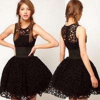 European elegant 2015 new summer women black party lace Ball Gown dresses