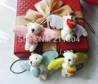 50pcs angel wings teddy bears,cartoon animal Ted bouquet,wedding Birthday gift pendant,key chain/ring of schoolbag girls