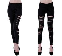 Women Broken Holes Destroyed Leggings Punk Pants Black