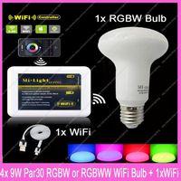 1x Mi.Light  2.4G RF Wireless E27 9W RGBW /RGBWW Mushroom Style Par30 Dimmable LED Bulb Lamp AC85-265V + 1x WiFi Controller Hub