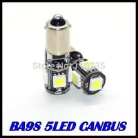 Free shipping 10pcs/lot BA9S 5SMD 5050 White CANBUS led Error Free Interior Car H6W 5 LED Light Lamp Bulb ba9s 12V