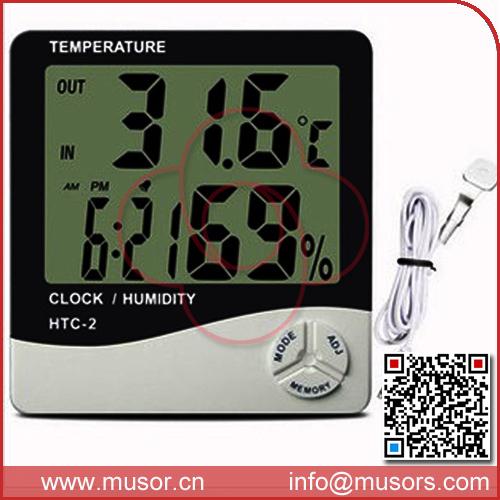 Tem-1002 ménage. hygromètre thermomètre digital électronique horloge d'alarme + horloge + capteur d'humidité