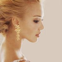 C1R27C New Fashion  Gold Silver Sale Full Rhinestone Crystal Long Snowflake Flower Dangle Drop Tassel Earring