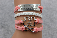 "New 2015 Trendy ""Where There's A Will There's A Way"" Infinity Puzzle Piece Autism Awareness Bracelet ,#056"