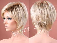 Ombre wig short Wonderful straight layered Blonde with dark roots free shipping