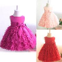 Retail New 2015 Sleeveless Bow Waist Belt Chiffon Flower Dress Girl 3D Floral Tutu Layered Princess Party Formal Dress For Girls