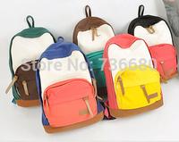 Fashion  Canvas Women Men  School Student Bag Patchwork College Shoulder  Backpack