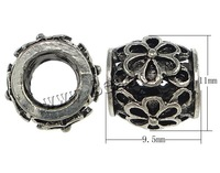 Free shipping!!!Zinc Alloy Jewelry Beads,Western Jewelry, Drum, antique silver color plated, hollow, nickel