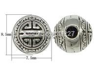 Free shipping!!!Zinc Alloy 3-Hole Guru Bead,european style, Drum, antique silver color plated, nickel, lead & cadmium free
