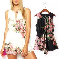 2015 Boho Sexy Lady Retro Flower Print Hollow Chiffon Shorts Playsuit Romper Jumpsuit