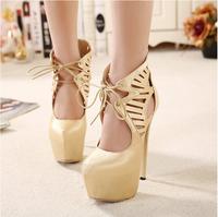 2015 women 16cm high heels Mesh cutout black shoes female fashion platform pumps wedding shoes sy-1053