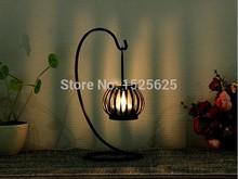 Europe Creative Design Pumpkin Lantern Candlestick , Vintage style Iron Romance Candlestick Gift(China (Mainland))