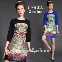 L-5XL Brand Elegant Ladies Floral Print Patchwork Half Sleeve Casual A-Line Dresses 2015 Spring Big Size Women Clothing 1519