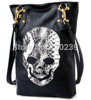 2015 RAXH Lambskin grain refined snake skull rivet Shoulder Messenger Bag