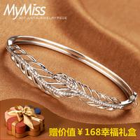 Mymiss925 Silver Bangle Bracelet opening South Korea female silver hollow feather silver bracelet dance