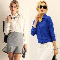 2015 Loose Women Blouses Fashion Chiffon Plus Size Women Fashion Shirt  White Blouse Blusas Femininas Shirt A1149 Hot Sell
