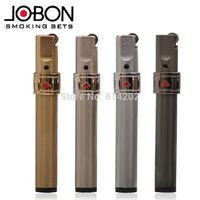 Brushed Metal Jobon Brand Refillable Butane Jet Flame Cigarette Gas Lighter 1pc
