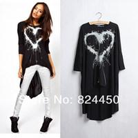 Fashion Brand Designer Tops Black Cotton T Shirt for Women Heart Print Tees Punk Long T-shirt Womens Summer Clothing