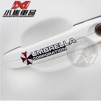 HOT!! 4pcs/set Car Styling Resident Evil protective Umbrella personality reflective car Sticker car door handle Stickers