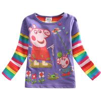 2015 Spring&Autumn Baby Girls Cartoon Peppa Pig Gilrs T Shirt Kids Full Sleeve T-shirt Children Summer Tops Tee Kids Wear