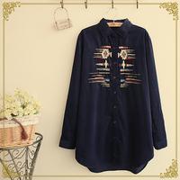 Winter women's national embroidery turn-down collar corduroy long-sleeve shirt basic shirt Blouses