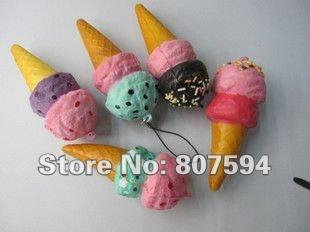 FREE SHIPPING New Kawaii ice cream squishy charm/Squishies/Key chain/Mobile phone strap/chain/bag pendant fur jewelry lanyard(China (Mainland))