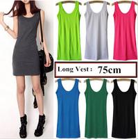 2015 Spring Summer New Woman U Neck Long Sections Vest Shirt Sleeveless Women Cotton Vest Tops (Length 75cm)13 color