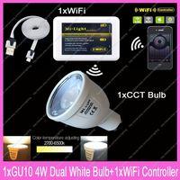 1x 2.4G RF Wireless GU10 Mi.Light 4W Color Temperature Adjustable Dual White CW/WW CCT LED Bulb AC85-265V+1x WiFi Controller Hub