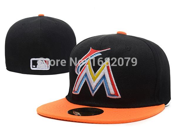 Men's sport team fitted caps flat brim two tone full closed design Miami Marlins black/orange baseball hats(China (Mainland))