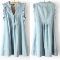 Brand Designer Women Summer Short Dress Fashion Vestidos Casual Light Blue Denim Dresses