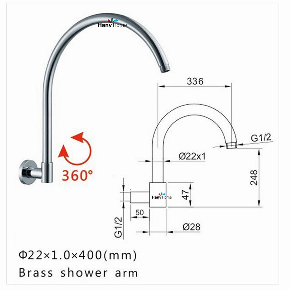 Female 360 degree rotation Brass GOOSENECK Round Chrome Rain shower Wall Mounted Shower Arm for shower head(China (Mainland))