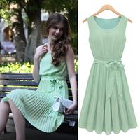 2015 New Summer Casual Women Elegance  Fashion sleeveless pleated o-neck chiffon tank dress one-piece dress
