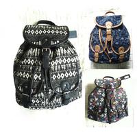 2015 vintage women canvas backpack flower print school bags for teenagers casual ladies travel shoulder bag black free shipping