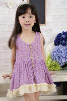 Korean Version Hollow Out Lace Button Cording Children's Sling Dress  Pink Lavender 5pcs/lot
