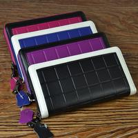 New Arrival Ladies Wallets Genuine Leather Purses Wallet  Elegant Plaid Long Women's Wrist Clutch Bag SA345
