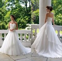 Vestido De Noiva Glamorous Bridal Gowns For Girls Sweetheart Applique Beadwork Ruffle Wedding Dresses 2014 New Arrival_bridalk