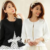 L-XXXL Korean Ladies Flower Applique Lantern Sleeve Jacket 2015 New Spring Summer Short Overcoat Women Plus size Tops 9925