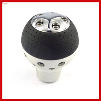 New Cool Universal Aluminum Leather Manual Transmission Gear Shift Knob Gear Level Knob Shift Head
