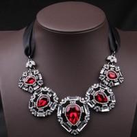 1702 Western exaggerated Crystal Palace fan luxury fashion ladies short black ribbon necklace