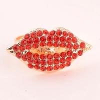 Promotion! Wholesale! Fashion lady women rings jewerly elegant colorful rhinestones sexy lips alloy rings SR361